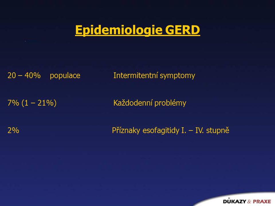 Epidemiologie GERD 20 – 40% populace Intermitentní symptomy