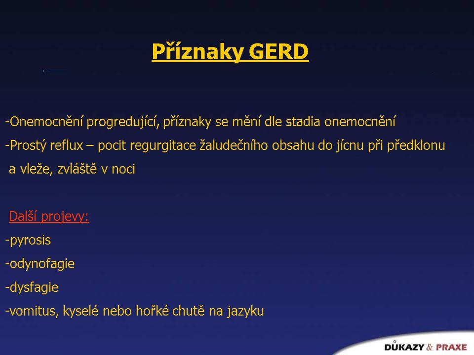 Příznaky GERD -Onemocnění progredující, příznaky se mění dle stadia onemocnění.