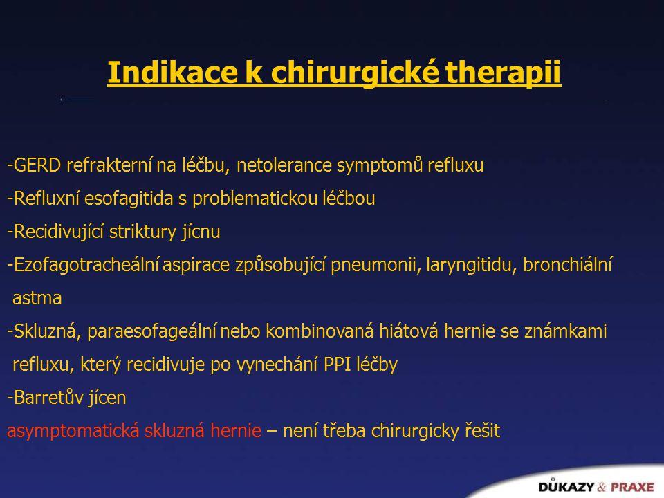 Indikace k chirurgické therapii