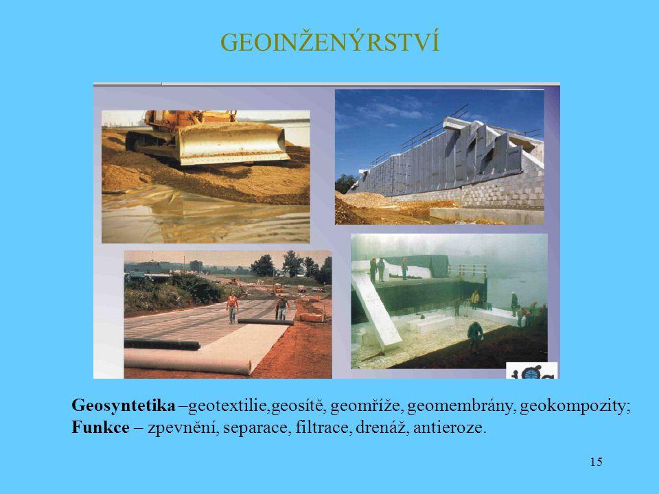 GEOINŽENÝRSTVÍ Geosyntetika –geotextilie,geosítě, geomříže, geomembrány, geokompozity; Funkce – zpevnění, separace, filtrace, drenáž, antieroze.