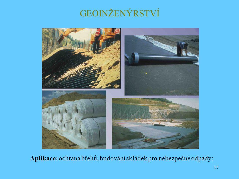 GEOINŽENÝRSTVÍ Aplikace: ochrana břehů, budování skládek pro nebezpečné odpady;