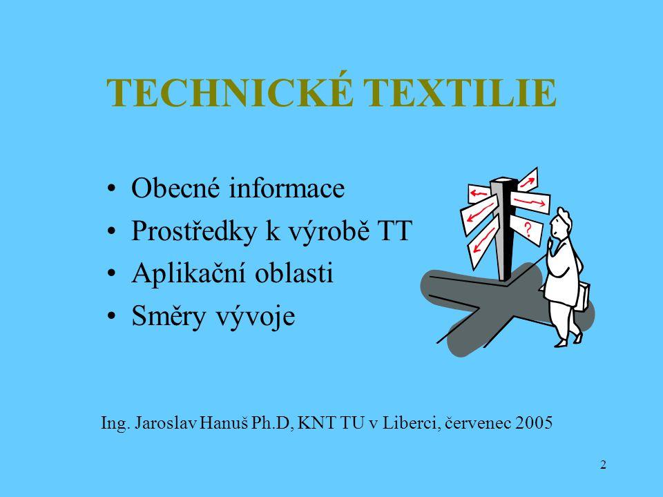 TECHNICKÉ TEXTILIE Obecné informace Prostředky k výrobě TT