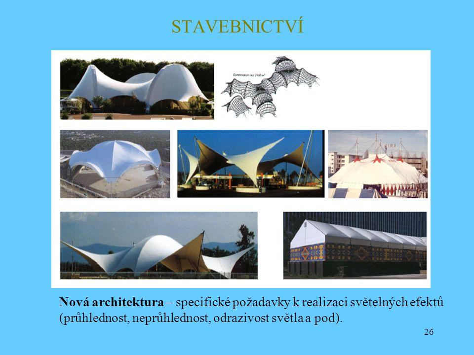 STAVEBNICTVÍ Nová architektura – specifické požadavky k realizaci světelných efektů.