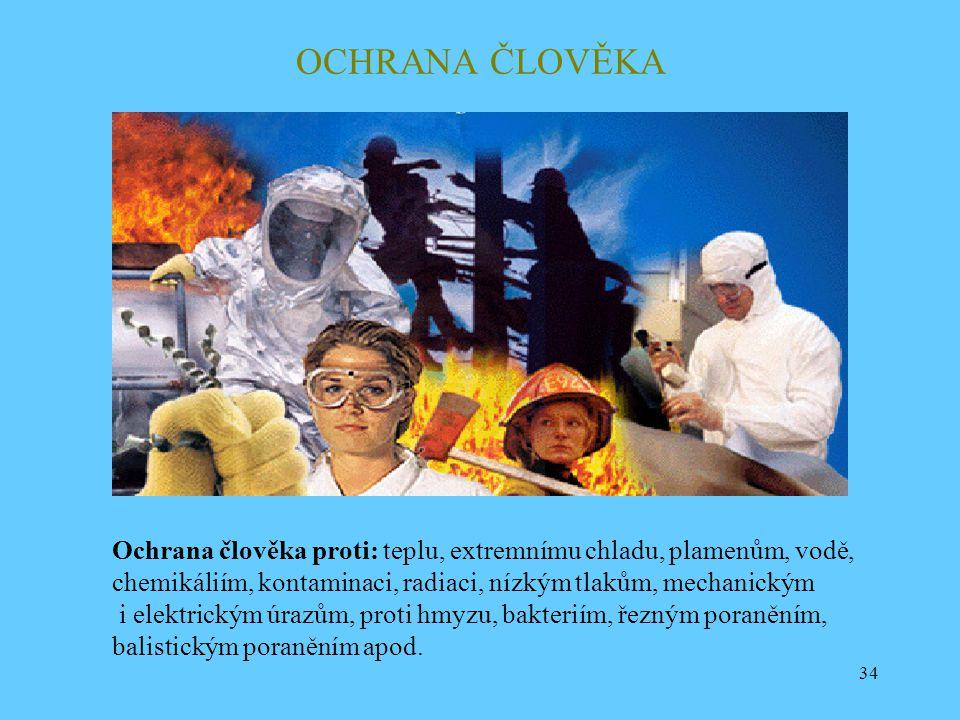 OCHRANA ČLOVĚKA Ochrana člověka proti: teplu, extremnímu chladu, plamenům, vodě, chemikáliím, kontaminaci, radiaci, nízkým tlakům, mechanickým.