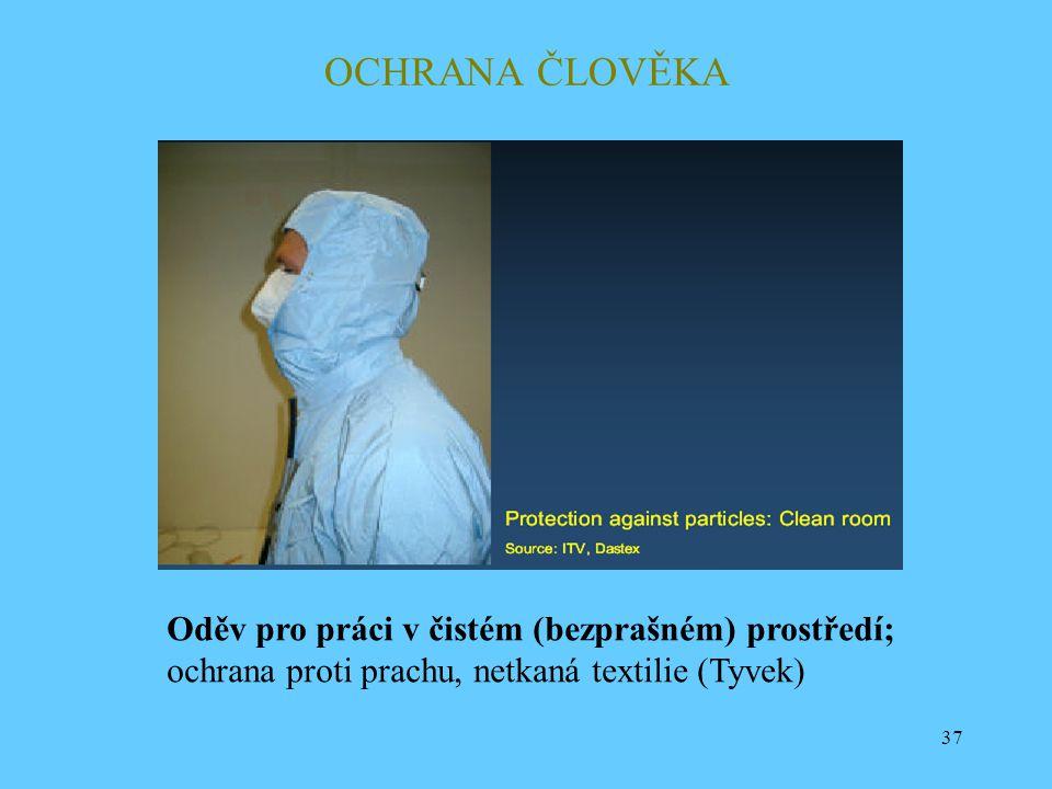 OCHRANA ČLOVĚKA Oděv pro práci v čistém (bezprašném) prostředí;