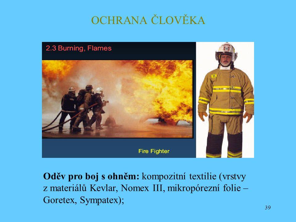 OCHRANA ČLOVĚKA Oděv pro boj s ohněm: kompozitní textilie (vrstvy