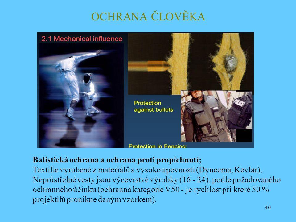 OCHRANA ČLOVĚKA Balistická ochrana a ochrana proti propíchnutí;