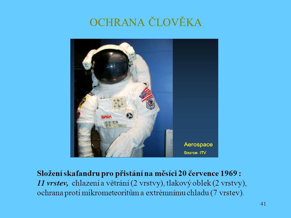 OCHRANA ČLOVĚKA Složení skafandru pro přistání na měsíci 20 července 1969 : 11 vrstev, chlazení a větrání (2 vrstvy), tlakový oblek (2 vrstvy),