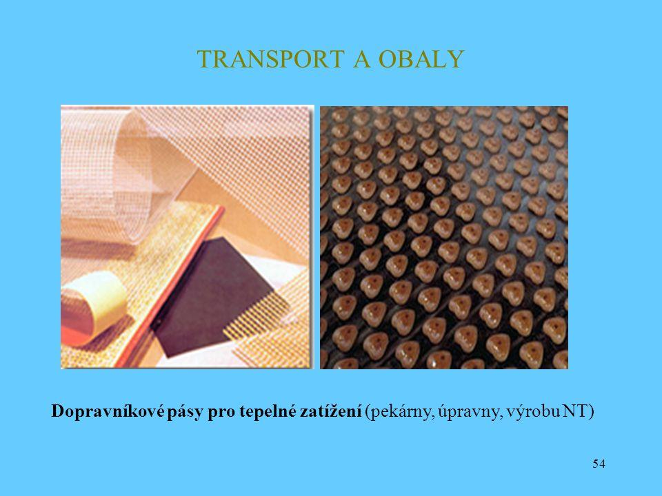 TRANSPORT A OBALY Dopravníkové pásy pro tepelné zatížení (pekárny, úpravny, výrobu NT)