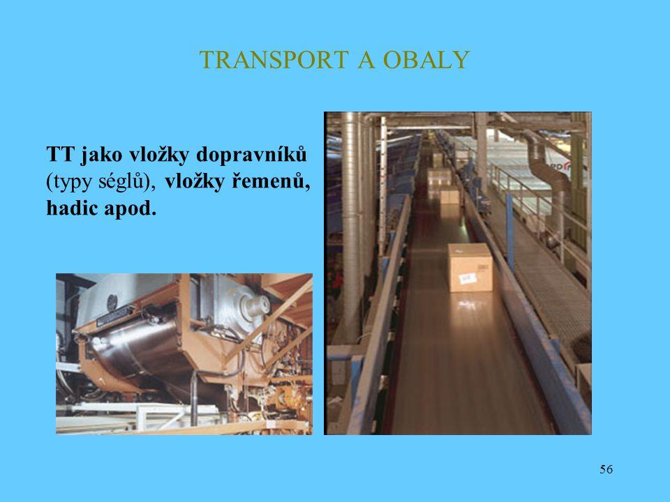 TRANSPORT A OBALY TT jako vložky dopravníků