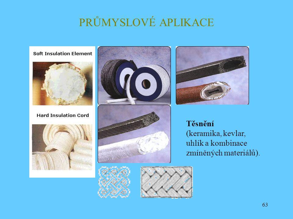 PRŮMYSLOVÉ APLIKACE Těsnění (keramika, kevlar, uhlík a kombinace