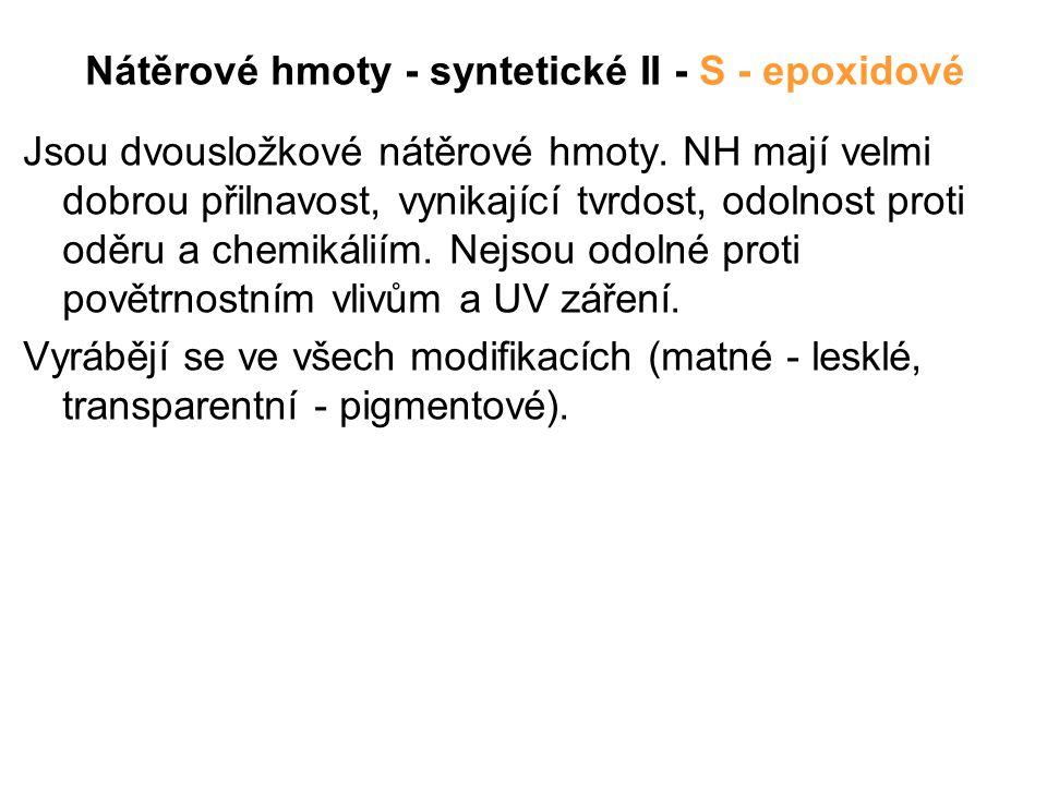 Nátěrové hmoty - syntetické II - S - epoxidové