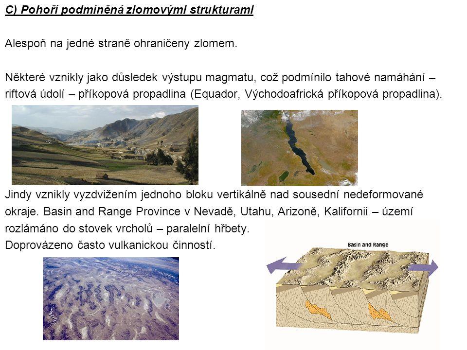 C) Pohoří podmíněná zlomovými strukturami