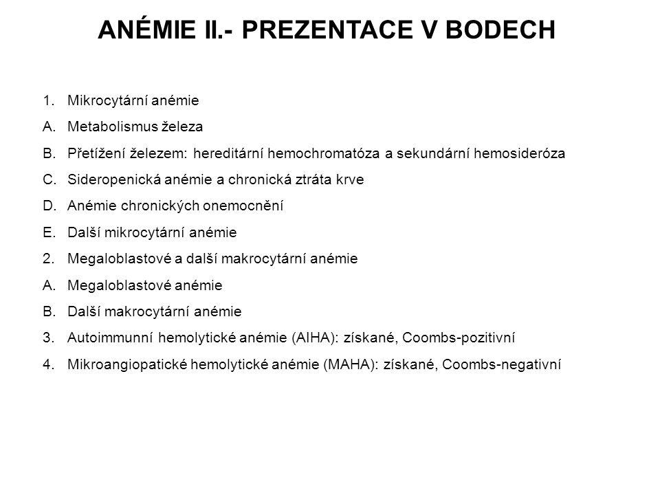 ANÉMIE II.- PREZENTACE V BODECH