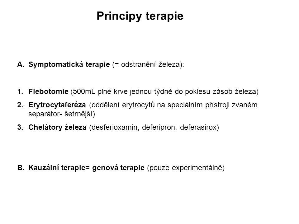 Principy terapie Symptomatická terapie (= odstranění železa):