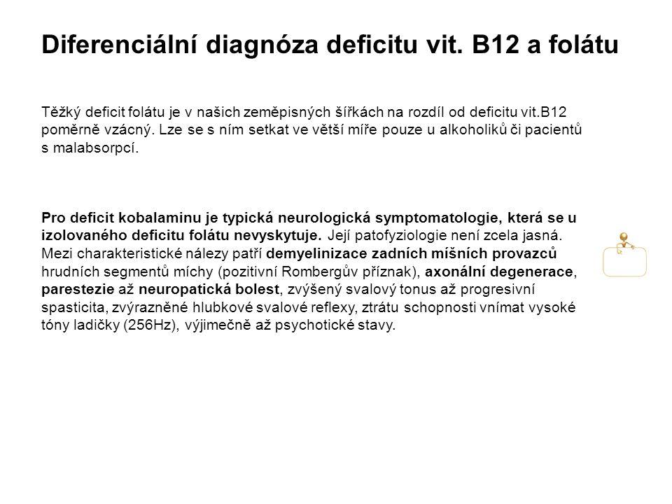 Diferenciální diagnóza deficitu vit. B12 a folátu