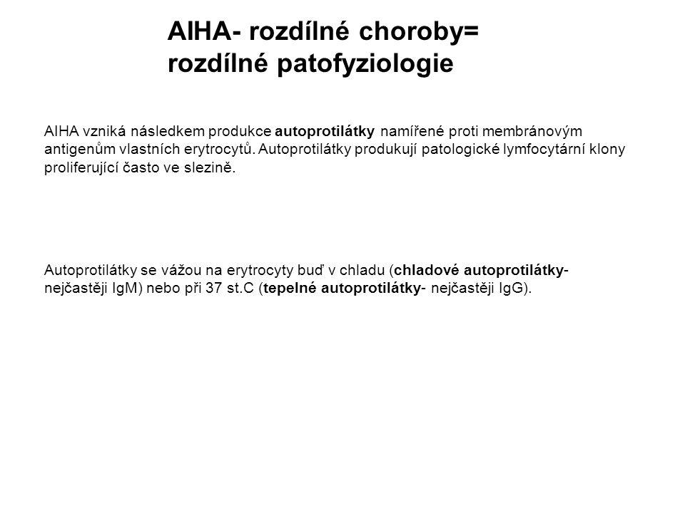 AIHA- rozdílné choroby= rozdílné patofyziologie