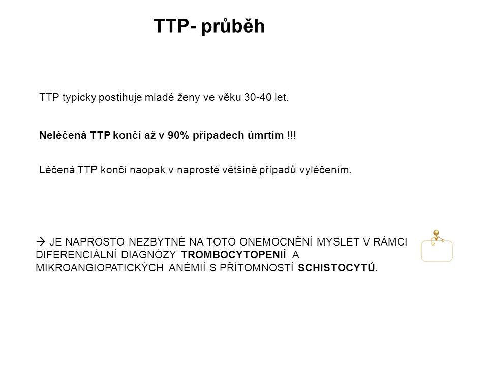 TTP- průběh TTP typicky postihuje mladé ženy ve věku 30-40 let.