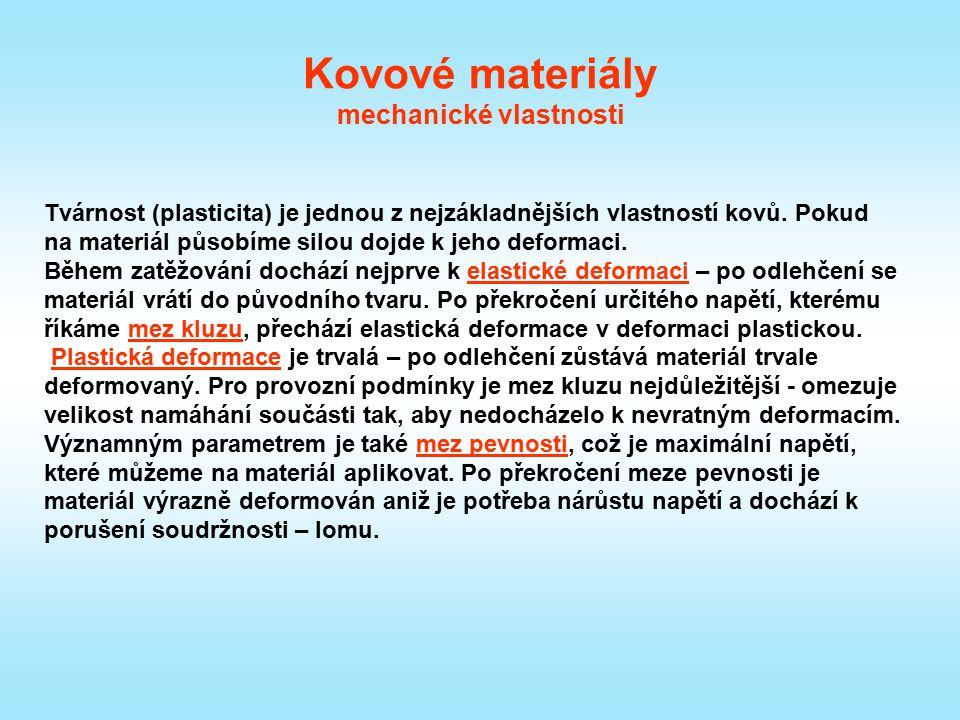 Kovové materiály mechanické vlastnosti