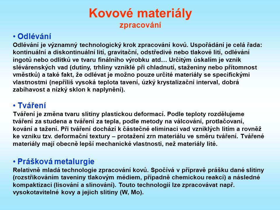 Kovové materiály zpracování