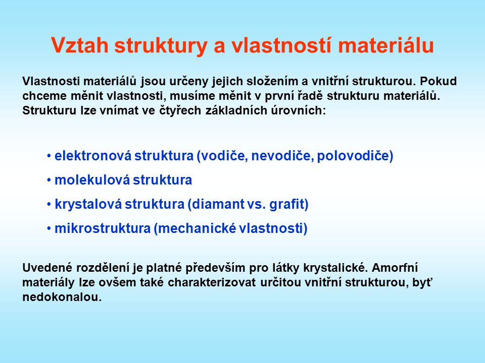 Vztah struktury a vlastností materiálu