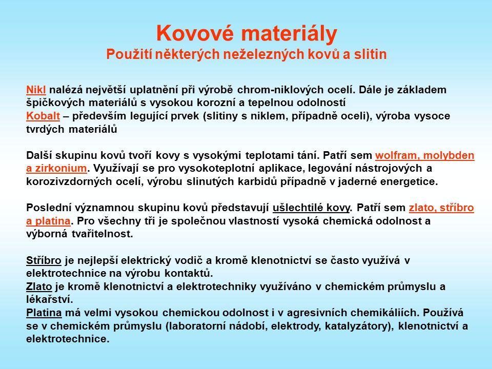 Kovové materiály Použití některých neželezných kovů a slitin