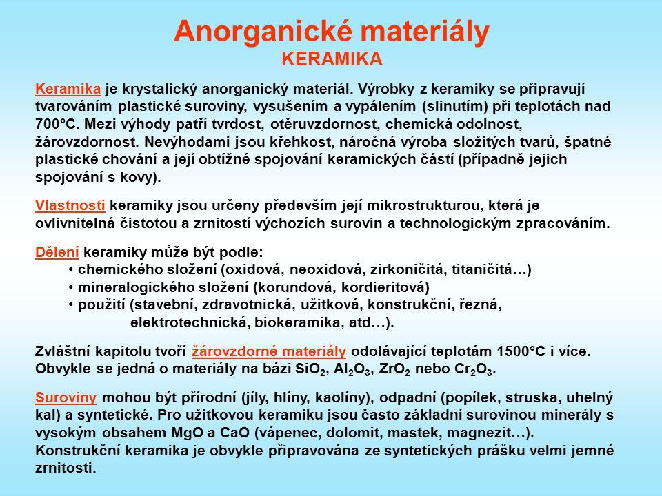 Anorganické materiály KERAMIKA