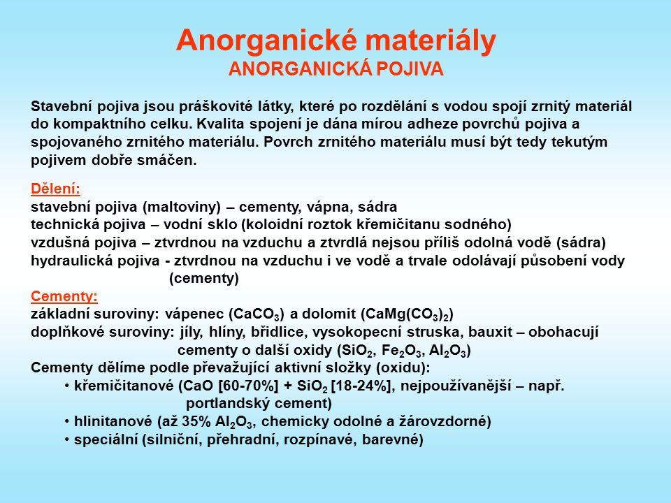 Anorganické materiály ANORGANICKÁ POJIVA