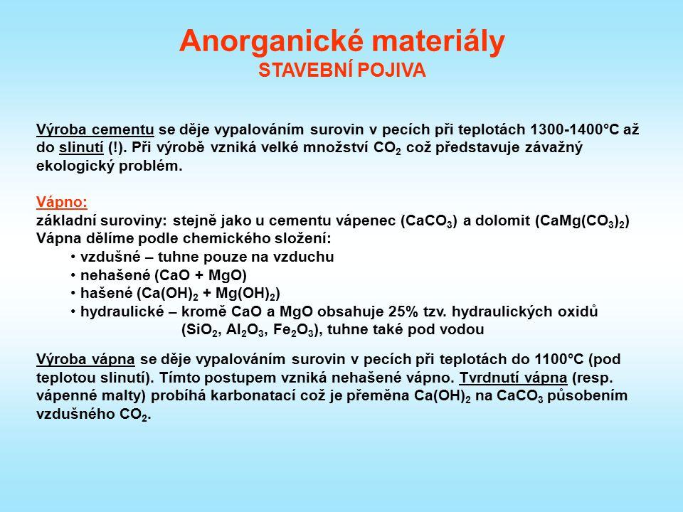 Anorganické materiály STAVEBNÍ POJIVA