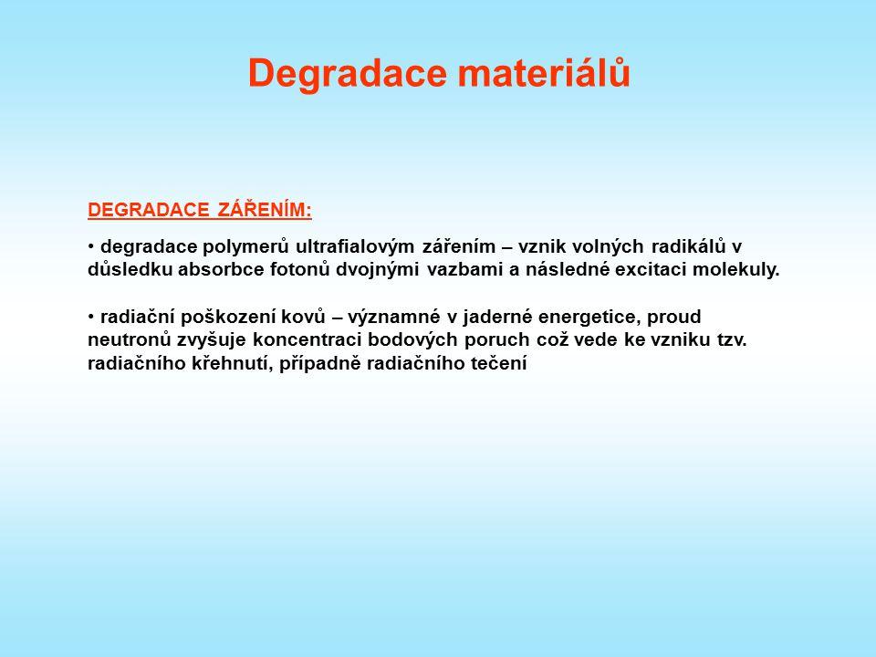 Degradace materiálů DEGRADACE ZÁŘENÍM: