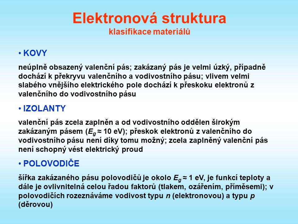 Elektronová struktura klasifikace materiálů