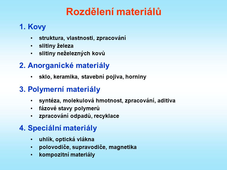 Rozdělení materiálů Kovy Anorganické materiály Polymerní materiály