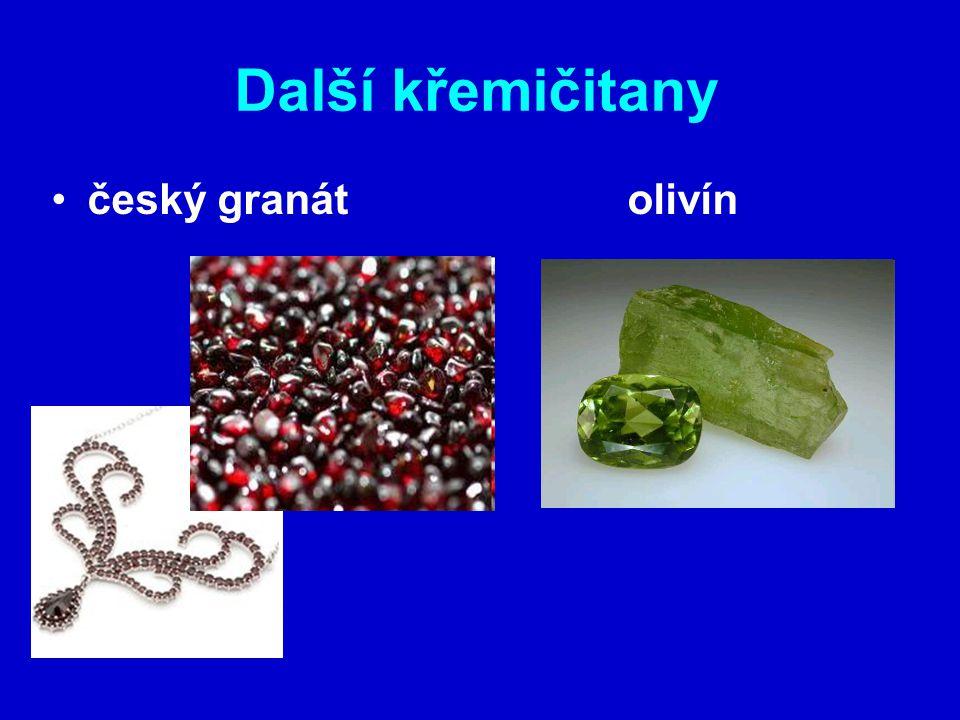 Další křemičitany český granát olivín