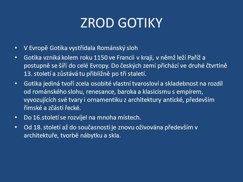 ZROD GOTIKY V Evropě Gotika vystřídala Románský sloh