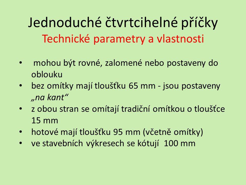 Jednoduché čtvrtcihelné příčky Technické parametry a vlastnosti
