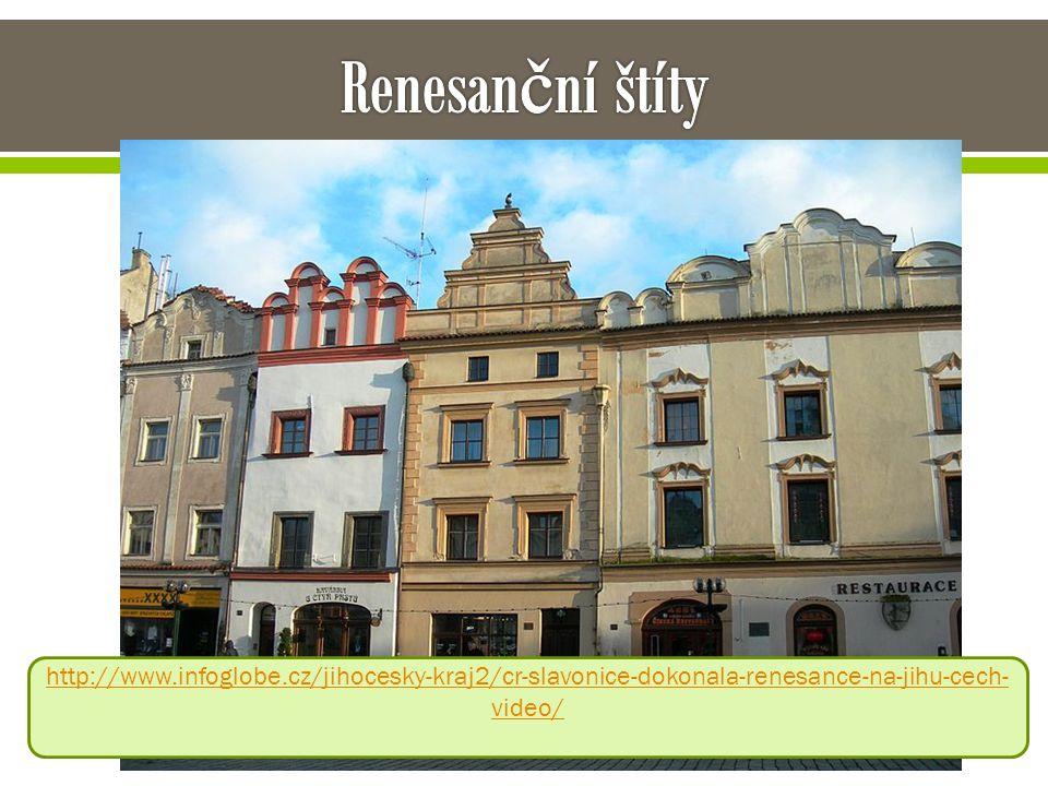 Renesanční štíty http://www.infoglobe.cz/jihocesky-kraj2/cr-slavonice-dokonala-renesance-na-jihu-cech-video/