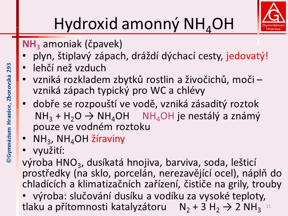 Hydroxid amonný NH4OH NH3 amoniak (čpavek)