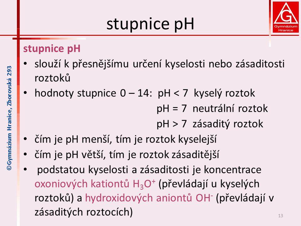 stupnice pH stupnice pH
