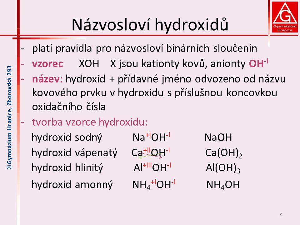 Názvosloví hydroxidů platí pravidla pro názvosloví binárních sloučenin