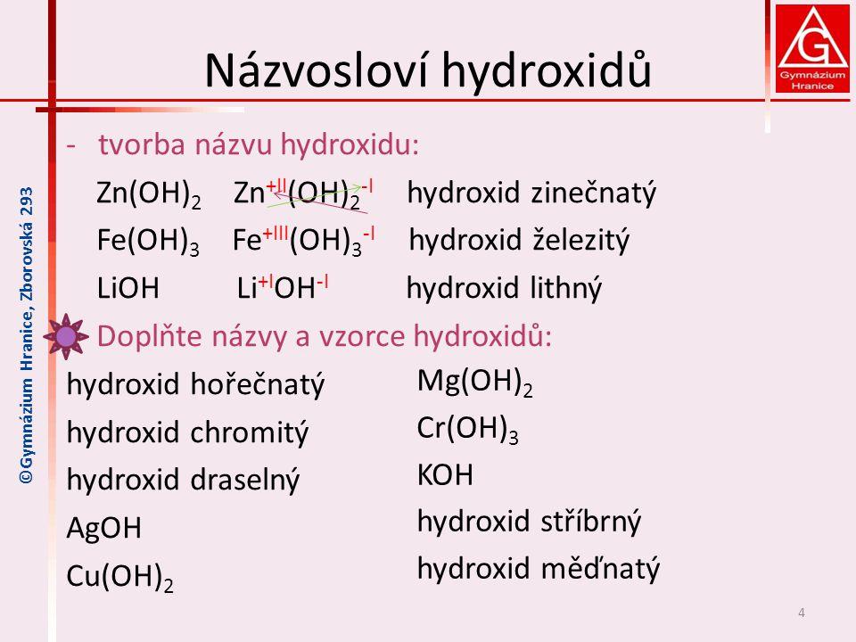 Názvosloví hydroxidů tvorba názvu hydroxidu: