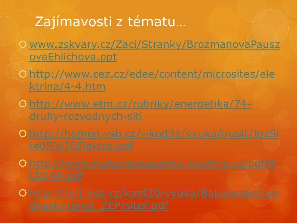 Zajímavosti z tématu… www.zskvary.cz/Zaci/Stranky/BrozmanovaPausz ovaEhlichova.ppt. http://www.cez.cz/edee/content/microsites/ele ktrina/4-4.htm.