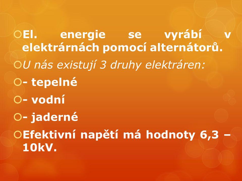 El. energie se vyrábí v elektrárnách pomocí alternátorů.