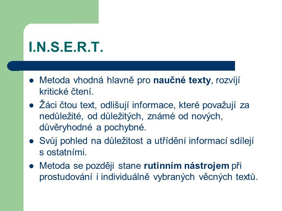 I.N.S.E.R.T. Metoda vhodná hlavně pro naučné texty, rozvíjí kritické čtení.