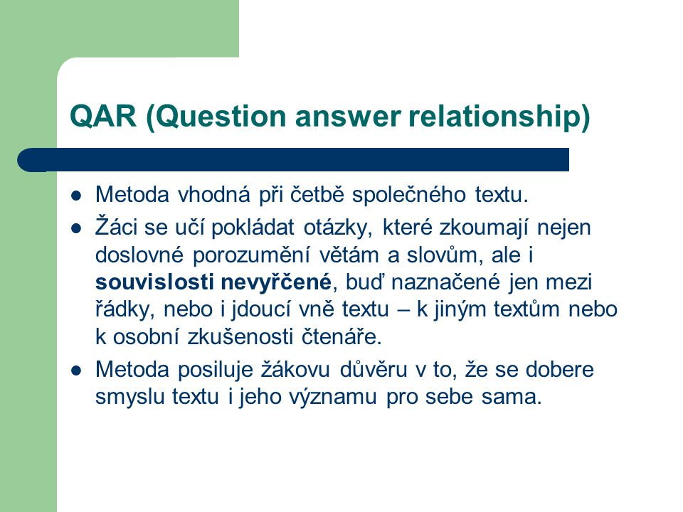 QAR (Question answer relationship)