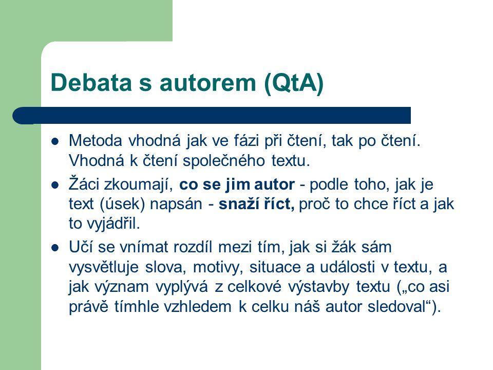 Debata s autorem (QtA) Metoda vhodná jak ve fázi při čtení, tak po čtení. Vhodná k čtení společného textu.