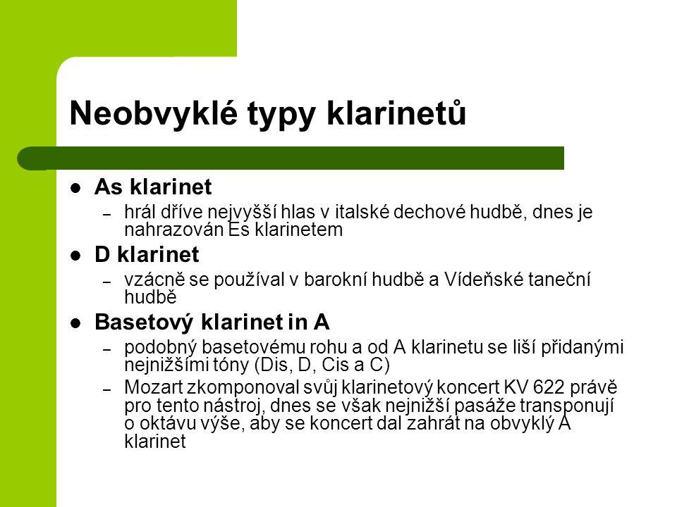 Neobvyklé typy klarinetů