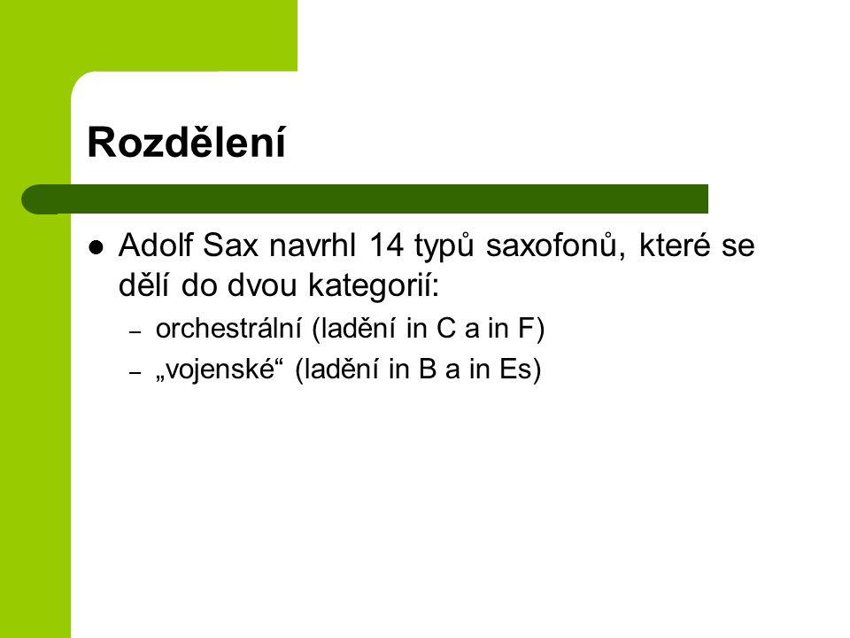 Rozdělení Adolf Sax navrhl 14 typů saxofonů, které se dělí do dvou kategorií: orchestrální (ladění in C a in F)