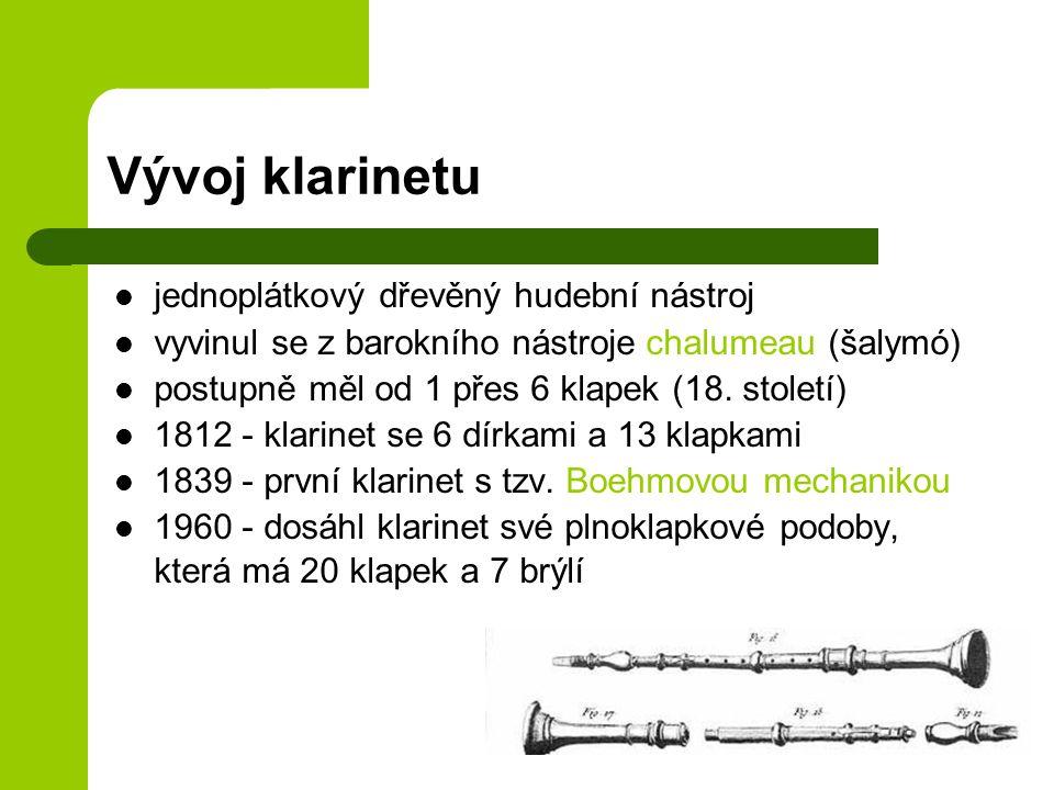 Vývoj klarinetu jednoplátkový dřevěný hudební nástroj