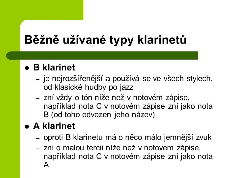 Běžně užívané typy klarinetů