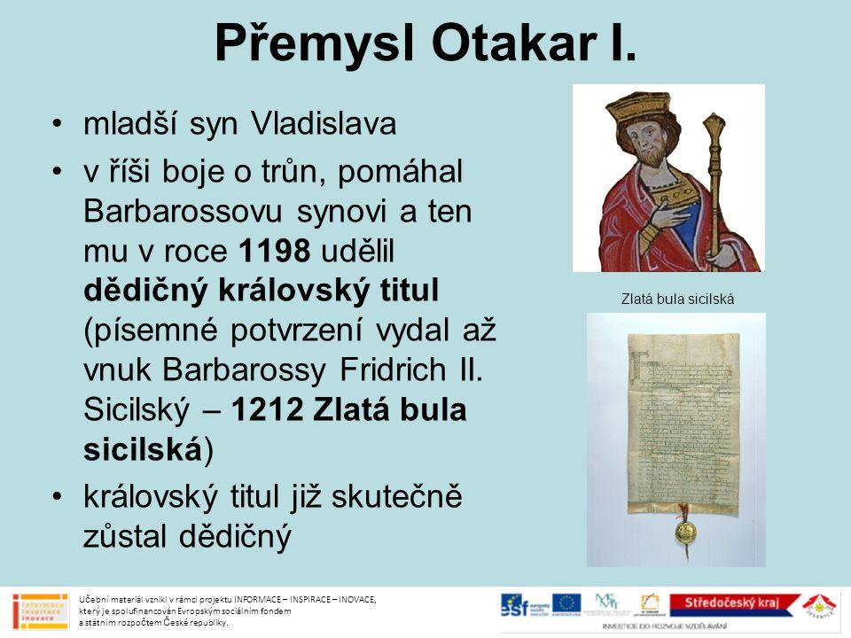 Přemysl Otakar I. mladší syn Vladislava